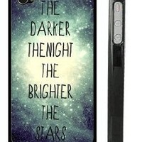"""Amazon.com: USA Made Black iPhone 4 4s Snap on Case - Galaxy Universe Stars Quote iPhone Cover - """"The darker the night, the brighter the stars"""" Quote Case: Cell Phones & Accessories"""