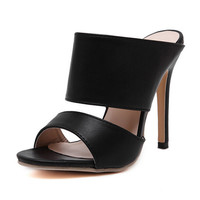 Woman Summer Sandals Solid Serpentine Printed Peep Toe Thin High Heels PU Leather Shoes Woman Size