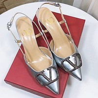 Valentino Women Sexy Pointed Sandals Shoes High Heels Silvery