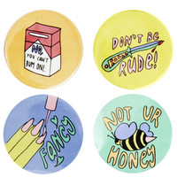 Don't Mess With Me! Girl Power Button Set