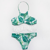 Fashion high neck green leaf print halter bikini and white tassel two piece bathing suit swimsuit