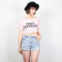 Vintage 1980s Crop Top Pale Pink Splatter Painted Abstract Art New Wave Cropped T shirt Free Estimate Novelty Print Mini Tshirt  S Small M
