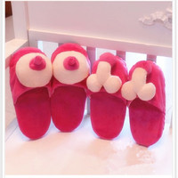 Penis Slippers Winter Warm Soft Cotton Floor Slippers Home Shoes For Women Fuzzy Pantoufles