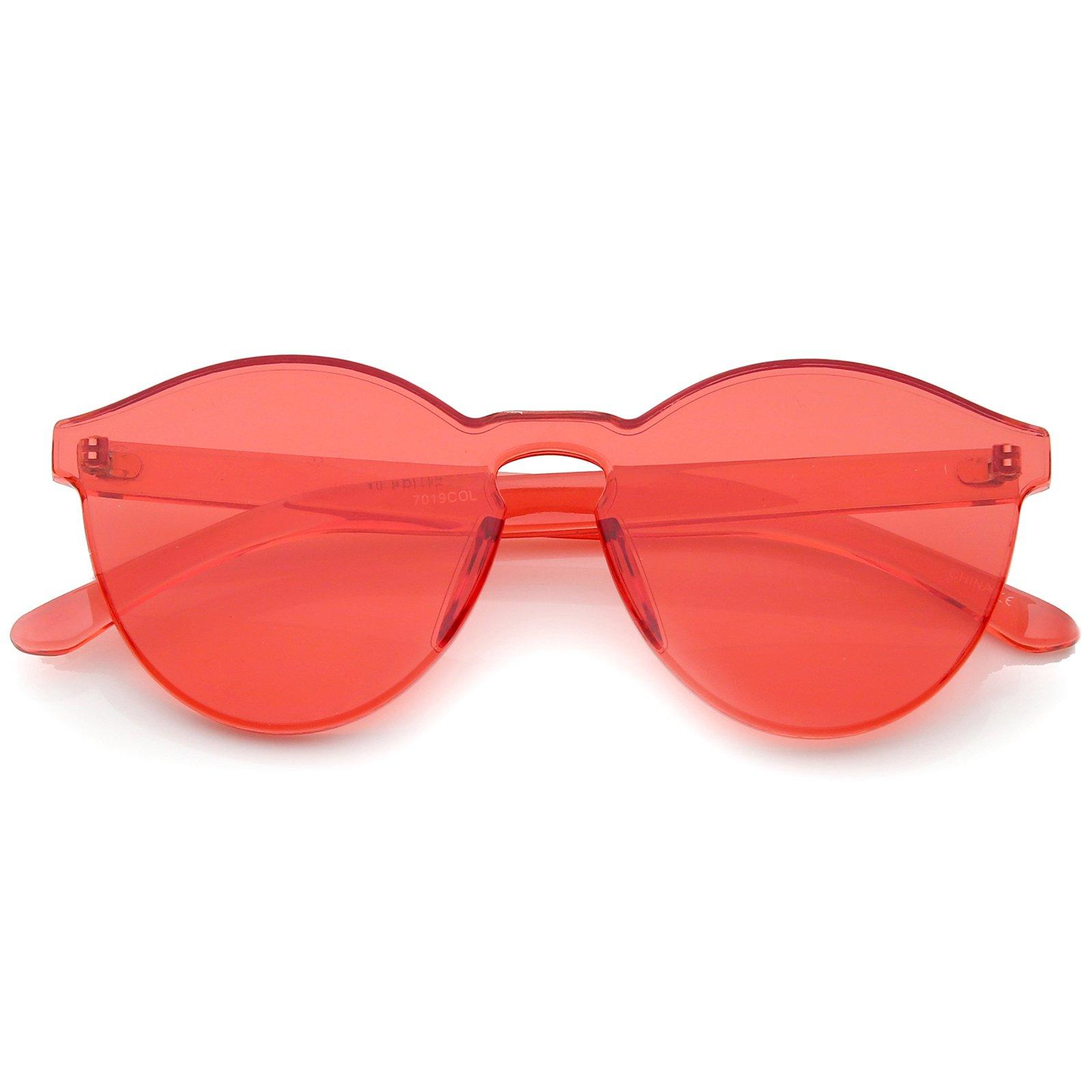 Image of One Piece PC Lens Rimless Ultra-Bold Colorful Mono Block Sunglasses 60mm