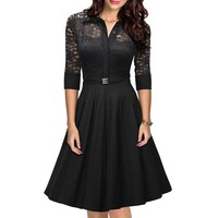 Women's Chic 3/4 Sleeve Lace Splicing A-Line Dress