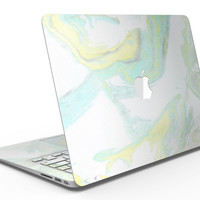 Mixtured Mint and Yellow Textured Marble - MacBook Air Skin Kit