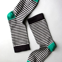 Black, Grey & Green Mini Stripe Socks