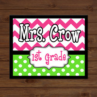 Teacher Sign Chevron Polka Dots Back to School Custom Personalized - Classroom Decor/Gift - Wooden Sign Plaque Holiday Gift Sign Wood Art