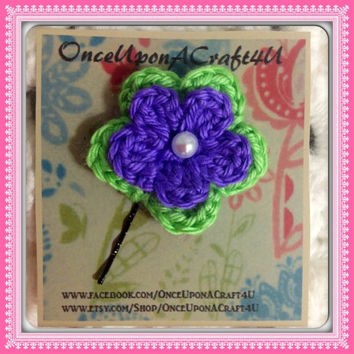 Hand Crochet Flower Hair Pin-Bobby pin Bright Neon Green Grape Purple