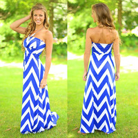 Blue Geometric Pattern Strapless Empire Maxi Dress