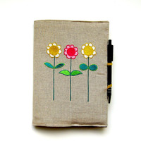 A5 notebook and pen, gift set, journal cover, notebook reusable cover, personalised gift, embroidered flowers on beige linen.