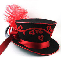 The Queen of Hearts Mini Burlesque Top Hat by angelyques on Etsy