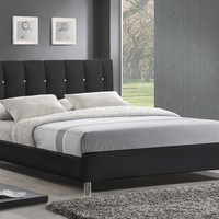 Baxton Studio Vino Bed with Upholstered Headboard in different colors and sizes