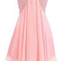 Dressystar Short A-Line Beaded Bridesmaid Prom Gowns with Cut Out Back
