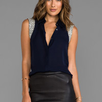 Haute Hippie Collared Blouse with Embellished Cap Sleeves