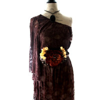 One shoulder lace dress, shabby chocolate brown, Holiday dress, gypsy cowgirl clothing, rustic country chic, true rebel clothing