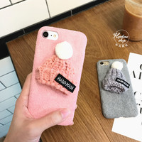 Korea lovely wool hat for iPhone7 plus phone shell Apple iPhone6 / 6s plush cloth protection tide female models-0315