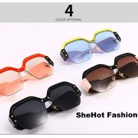 Vintage Color Block Oversized Sunglasses