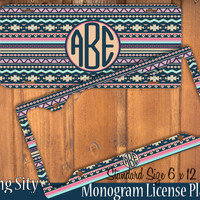 Aztec Navy Tribal Monogram License Plate Frame Holder Metal Wall Sign Tags Personalized Custom Vanity Country Girl