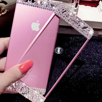 Sparkling rhinestones cellphone screen protector for iphone 5 5s SE 6 6s 6 plus 6s plus + Nice gift box 080901