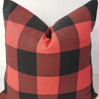 Farmhouse Buffalo Check Red and Black Pillow Cover