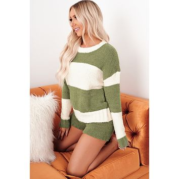 Cue The Cuddles Two Piece Set (Olive)