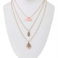 Layered 3 Chain Necklace with Leaves and Stone Charms