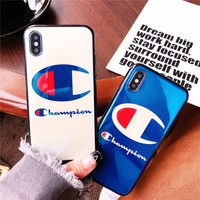 Champion blue-ray laser phone case for iphone 6 6s Hard Silicon phone back cover for iphone 7 8 plus coque for iphone x fundas