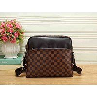 LV Popular Women Shopping Bag Monogram Leather Zipper Shoulder Bag Crossbody Satchel Coffee Tartan I-RF-PJ