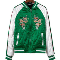 Animal Embroidered Padded Spliced Reversible Jacket