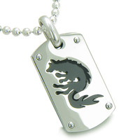 Amulet Brave Black Wolf Protection Steel Dog Tag Pendant Necklace Pendant 22 Inch Necklace