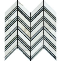 Calacatta Gold Marble Polished Large Chevron Mosaic Tile w / Blue - Gray Dots Marble Strips