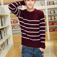 Mens Casual Six Stripe Sweater