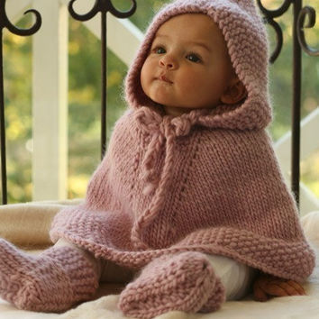 Knit Cape Poncho Children clothing Fall Baby Poncho with hood 6 to 9 months made of wool. Baby Shower Gift Handmade in Colorado USA
