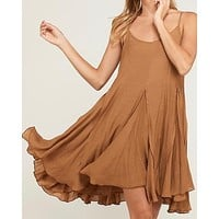 Final Sale - Coming Up For Air - Flowy Dress - Tan