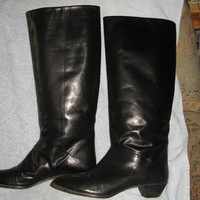 Vintage black leather tall riding boots size 8 m