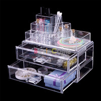 Crystal 2 Drawer Cosmetic Case Organizer Lipstick Jewelry Storage Box #04 RS