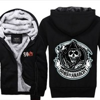 SOA Sons of anarchy the child 2018 new Fashion SAMCRO Men Zipper Hooded Casual Sweatshirt Winter Thickened Hip Hop Warm Hoody