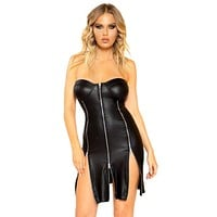 Sexy So Am I Leather Look Zipper Detail Strapless Dress