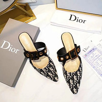 Dior Pointed Patent Leather Net Knitted Bread Head Slippers