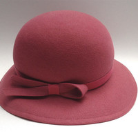 Bollman and Company pink bowler felt, wool hat - Made in USA