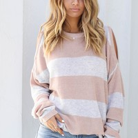 Can't Deny It Natural Cold Shoulder Sweater