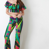 Colorful Abstract Tribal Bell Bottoms