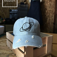 Saturn Ring  Baseball Cap, Denim Cap, Jean Cap,Nasa Hat, Queen Cap, Girlfriend gift, Low-Profile Baseball Cap Baseball Hat