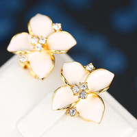 18K Gold Classic Ivory Rose Petal Earrings Made with Swarovksi Elements