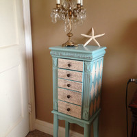 Large Upcycled Jewelry Armoire  Hand Painted Painted Aqua Blue Distressed Decoupaged