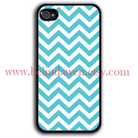 iPhone 4 Case, iphone 4s case, Chevron iphone case, blue chevron iphone hard case