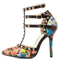 Studded Floral T-Strap Pumps by Charlotte Russe - Blue Combo