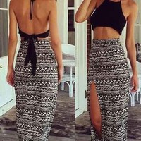 Casual Fashion Boho Halter Top & Skirt