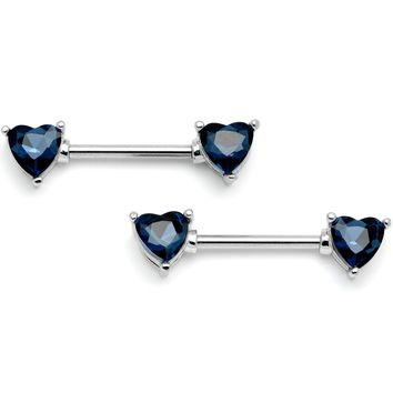 "14 Gauge 9/16"" Blue Gem Hearts Of Love Barbell Nipple Ring Set"